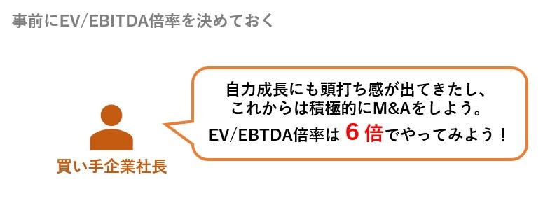経営トップが事前にEV/EBITDA倍率を決めておく